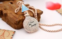 american beauty perfume - 50pcs DHL Free Dimond Perfume Bottle Pendant Necklace Gold Plated Jewelry Fasion Beauty Necklace For Women I love The Beautiful Necklace