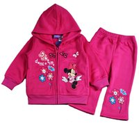 minnie mouse clothing - FREE FAST WAY Girls Clothes kids Winter outfit sets Long sleeve zip Fleece Jacket coat pants suits Minnie Mouse clothing set set