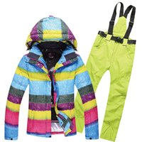 Wholesale freeshippingOutdoor clothing women suit single and double plate ski suit for outdoor waterproof breathable cotton padded jacket