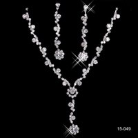 Wholesale Cheap New Silver Plated Crystal Rhinestone Shinning In Stock Bridal Necklace Earrings Jewelry Sets For Evening Prom Party