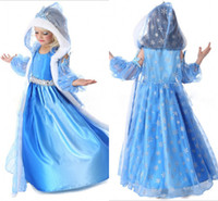 Wholesale 2014 New arrival Frozen clothes elsa princess dress Elsa Anna dresses Costume Blue flower girls party dresses kids cosplay dresses BO6956