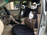pink car seat covers - 18pcs sexy leopard hello kitty car seats covers set gift for girlfriend front back seats covers full set car accessories