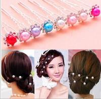 Wholesale Fashion Pearl Hairpin Colorful Cheap Clear U Shape Crystal Wedding Bridal Hair Pin Hair Clip Hair Accessories