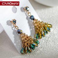 amber peacock - Kalome jewelry Bohemia peacock Crystal Earrings female temperament are hypoallergenic Earrings