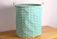 Fabric basket handle - Geometric Blue With Handle Crown Linen Zakka Vintage Storage Laundry Basket Fold Bin cm x40cm
