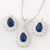 american diamonds jewellery - Korean Cooper Jewelry Sets Fashion Zircon Wedding Jewelry For Women Bijoux Jewellery Sets Diamond Necklace Earring Sets Jewelry