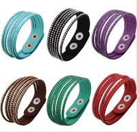 Wholesale New Sparkling Crystal Multilayer Leather Wrap Bracelet Christmas Gift Charm Bracelets Vintage Jewelry For Women