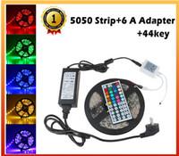 Wholesale 5050 tira del LED RGB M LED IP20 Led Diodo cinta No Impermeable A adaptador key remoto Power Para el hogar Jardín Decoración