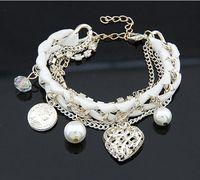 Charm Bracelets pearl heart beads - 12pcs New Fashion Women Lovely Gold Heart Pendant Alloy Multilayer Pearl Charm Bracelets Bangles Jewelry Bracelets Bangles JB06154