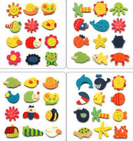 Wholesale Cute Cartoon Fridge Magnets fashion Wooden Sea Wooden Animals Home Garden Decoration Wood refrigerator magnets H142
