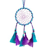 Wholesale Dream Catcher Charm Wind Chimes Indian Pendant Circular Net With feathers Wall Hanging Decoration Decor Ornament CY0724