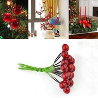 artificial holly berries - Fashion Cute Mini Red Plastic Holly Berry Wire Artificial Tree Hanging Home Decor Ornament Drop Shipping