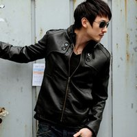 Wholesale Fall best price for Men s Punk Bomber Motorcycle PU Leather Stand Collar Biker Jacket Coat Motorcycle Out wear