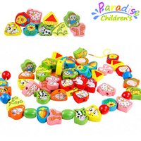 animal cognition - 1Set Wooden children s toys animal fruit shape cognition toys beaded education wooden puzzle color pattern around bead toys