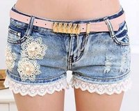 Cheap Wholesale-2015 New Women's Shorts Denim Lace Shorts Floral short jeans Pearls Female Jeans Ripped Holes Denim Shorts Without Belt