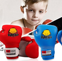 Wholesale 2 Pairs Blue Red Children Boxing Gloves Sanda Mitten Sport Exercise Fitness Training For Kids Gift PU Leather