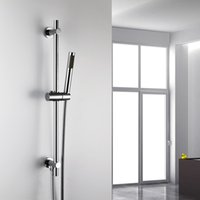 Wholesale 2015 Luxurious Solid Brass Round Style Slide Bar Elbow Shower Rail with Hose and Hand shower