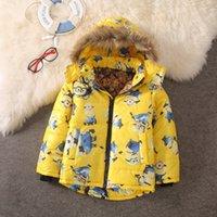 Wholesale Minion Warm Jacket Kids Down Jacket For Boy Baby Minion Clothes Winter Down Coat Warm Baby Snowsuit Children Girl Hooded Short Coat