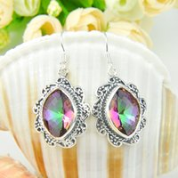 Cheap Wholesale 3 Pairs   Lot Antiquel Gift For Party Jewelry Rainbow Mystic Topaz Gemstone 925 Sterling Silver Plated USA Drop Wedding Earrings