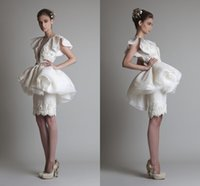 Wholesale Sheer Backless Sexy Prom Dresses With Sleeves Organza Peplum Beaded Applique Short Party Cocktail Gowns Krikor Jabotian Formal DressHC