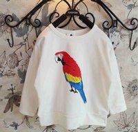 raglan shirt - 2015 Spring Boys Girls T shirts Scarlet Macaw Print Long Raglan Sleeve Tshirt Cotton Shirt Kids Tops Children Clothing White K3671