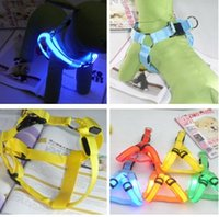 Wholesale Adjustable Flashing LED Pet Chest Straps Dog Luminous Chain Harnesses Collars Leashes Light up In The Dark Colors J3095