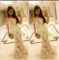 arabia middle east - 2015 New Elegant Unique Amal Alawadhi Evening Dresses Saudi Arabia Dubai Middle East Muslim Mermaid Ivory Appliques Long Sleeves Prom Gowns