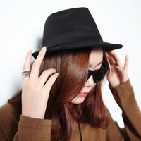 Wholesale New Fashion Women Fedora Curly Floppy Brim Chapeu Panama Top Quality British Jazz Hip Hop Hats for Men Sombrero Cap Unisex Black