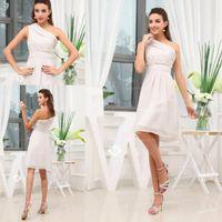 Model Pictures chiffon tea length bridesmaid dresses - Elegant Short One Shoulder Simple Bridesmaid Dresses Chiffon Tea Length Beach Party Casual Evening Prom Gowns BO8285