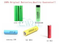 Wholesale 100 Genuine Lithium battery for electronic cigarette battery Sony VTC4 samsung INR R LG he2 he4 Panasonic NCR B authentic