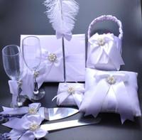 Wholesale White Color Wedding Decoration Wedding Ring Pillow Flower Basket Champagne Glasses Knife Scoop Pen Set Guest Books Supplies