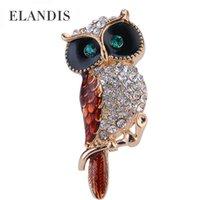 christmas brooch - Multicolor crystal rhinestone owl brooches ELANDIS promotions High Quality Fashion bijoux Creative Christmas gift BR02758