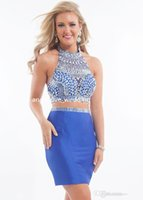 Cheap Fashion Two Pieces Homecoming Dresses Royal Blue Halter Crystal Bead Backless Tight Fit Short Semi Formal Dresses