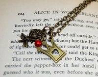 alice pearl necklace - 20pcs Alice in Wonderland Queen of Hearts Red Pearl Rose and Crown Charm necklace in bronze
