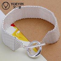 web design - Latest Women Classy Design Silver Plated Jewelry Round Clasp Mesh Bracelet Silver Web Bracelet Factory Direct Sale H004