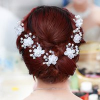 Wholesale Pretty Bride Headdress Flower Hairpin Necessary Wedding Headwear Beautiful Crystal Pearl Hair Accessory Full Of Flowers