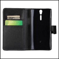arc s phone case - Book Style PU Wallet Cover Case For Sony Xperia S LT26i Xperia Arc HD mobile phone bag with Black