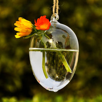 Wholesale Unique Design Hanging Drop Round Egg Glass Clear Flower Vase Hydroponic Container Creative Exquisite Special Gift