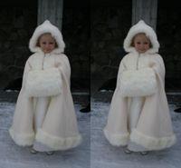 Wholesale Winter Warm Flower Girls Faux Fur Girls Wrap White Ivory Fur Shawl Cloaks Jacket Boleros Shrug Wedding Dresses Little Children Cap Wrap