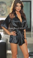bathrobe suppliers - w1024 Hot sales New Fashion Black Red Sexy Lingerie Costume Pajamas underwear and G String factory supplier Bathrobes