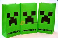 shopping bags paper - Minecraft paper bags JJ blame Creeper popcorn bag MC party food bags cinema cookie container package cm shopping bag J120303