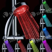 Wholesale LED Bathroom Shower Head Colors Changing Automatic Red Green Blue RGB Romantic Color Temperature Sensor Bathroom Sprinkler Free DHL