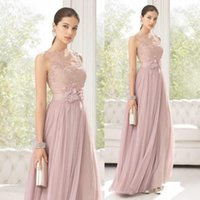 Wholesale 2015 Lovely Blush Long Bridesmaids Dress Sheer Lace High Neck Sleeveless A Line Hand Made Flowers Pleated Prom Party Dresses