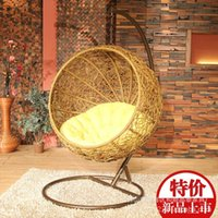 Wholesale Guangyi rattan basket nest outdoor recreation swing hanging chair rocking chair combination rattan factory direct LD