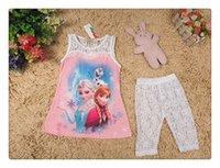 boutique clothes - girls boutique clothing Baby girls Frozen clothing set kids Elsa Anna dress lace pants summer sleeveless set colors