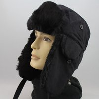 Wholesale Ear Flap SEK BLACK Chullo Skull Beanie Russian Hat Cap Ear Warmer Wrap Outdoor Trapper Hats Warm Hats