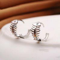 Wholesale 2016 New Design Sterling Silver Swiss Fishbone Hoop Earrings Beautiful Wedding Engagement Jewelry