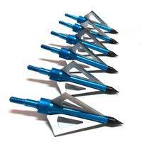 archery - 12pcs Archery Hunting bule color Arrow Hunting Broadheads gr blade Arrow Archery Compound Bow Aftershock Beast Recurve Bow