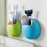 Wholesale Fashion Sucker Toothbrush Holder Suction Hooks Household Items Toothbrush Rack Bathroom Set