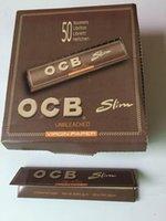 cigarette carton - One carton king size slim Natural unrefined OCB cigarette rolling paper booklets box for via DHL